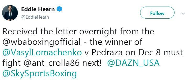 This was the tweet sent out by Crolla's Matchroom promoter Eddie Hearn