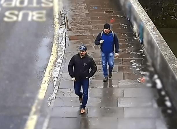 CCTV shows the GRU pair smiling as they walk into Salisbury