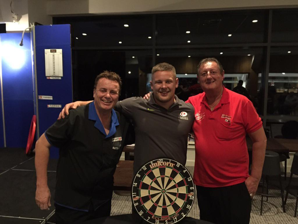 Darts fan Richard Barrington with the late, great Eric Bristow