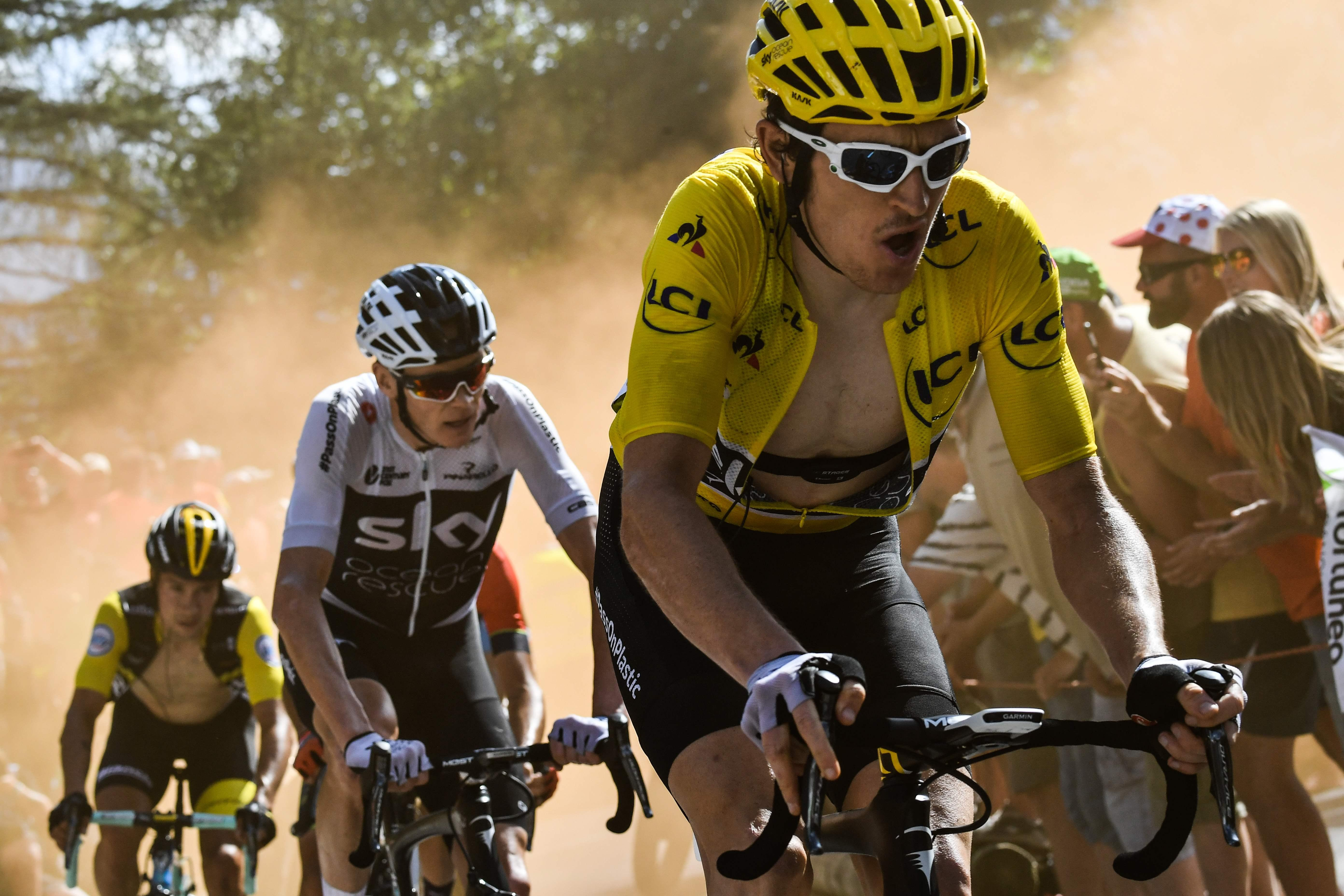 Geraint Thomas, right, became the third Brit to win the Tour de France earlier this year ahead of defending champ Chris Froome, left