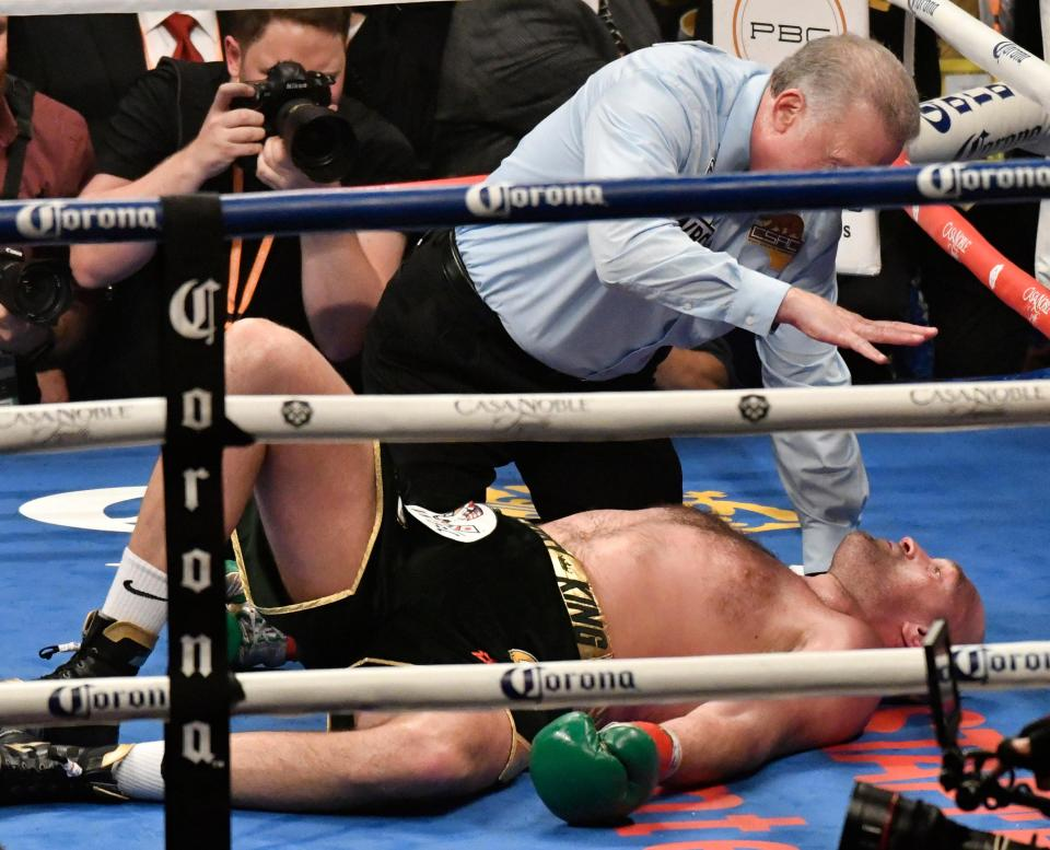 It looked as though Fury was going to be knocked out after being dropped by Wilder