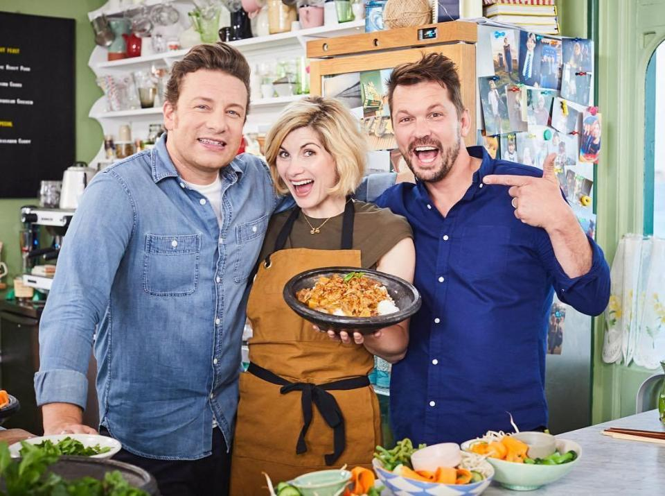 (L-R) Jamie Oliver, Jodie Whittaker and Jimmy Doherty