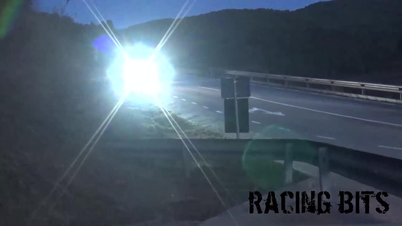 The rally driver can be seen speeding down the straight before he lost control