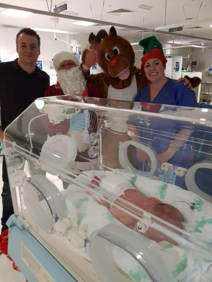 The non-identical pair were born by caesarean on Christmas Eve