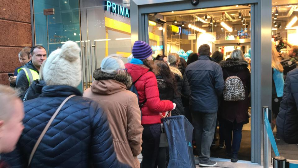 From early this morning, shoppers thronged the street ahead of the opening of the new Primark store