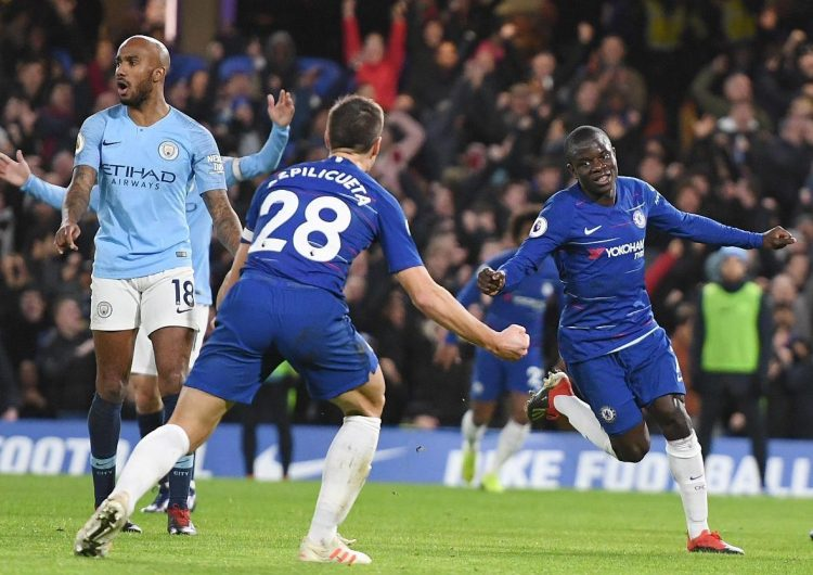 N'Golo Kante fired in Chelsea's first goal as they beat Manchester City 2-0