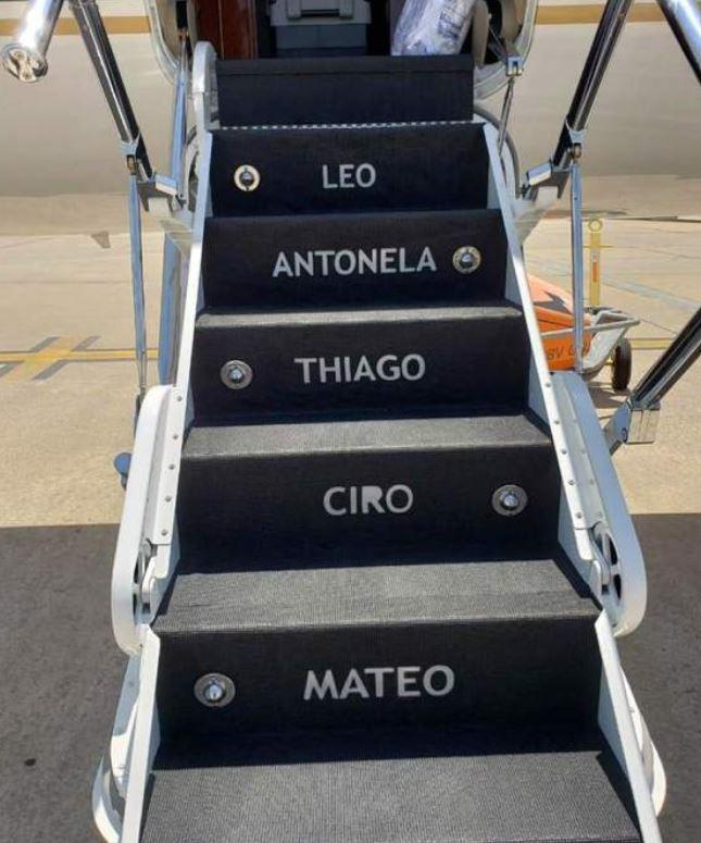 The names of Messi's family members are engraved on the steps