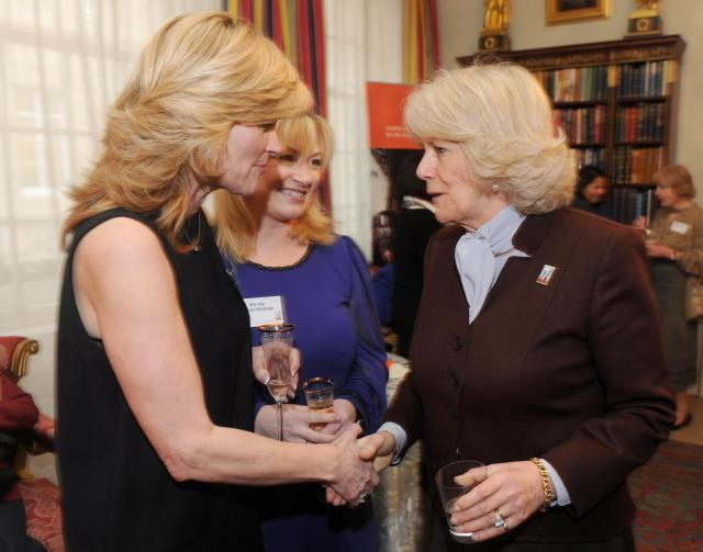 The sisters, here meeting the Duchess of Cornwall, used to have a close relationship