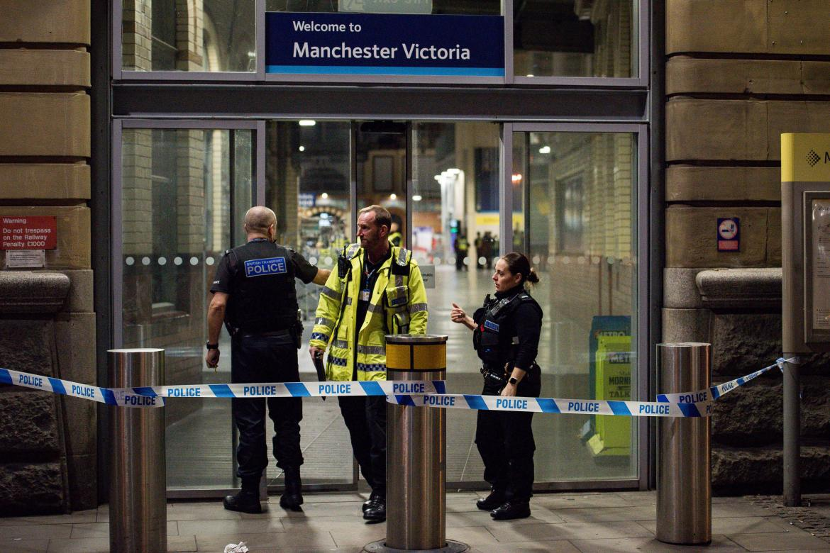Manchester Victoria station was shut tonight following the triple stabbing