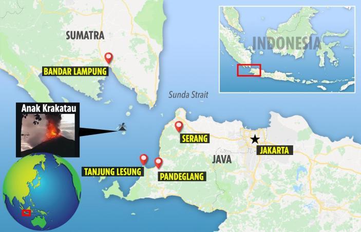 خريطة بركان أناك كراكاتوا بإندونيسيا
