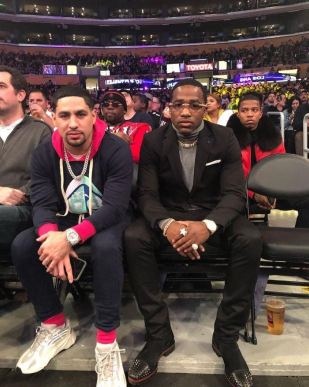 Adrien Broner was at the LA Lakers' NBA clash against the Minnesota Timberwolves last night