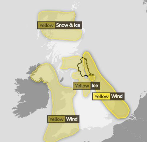 Yellow weather warnings are in force for snow and ice in Scotland and for wind in the east and west