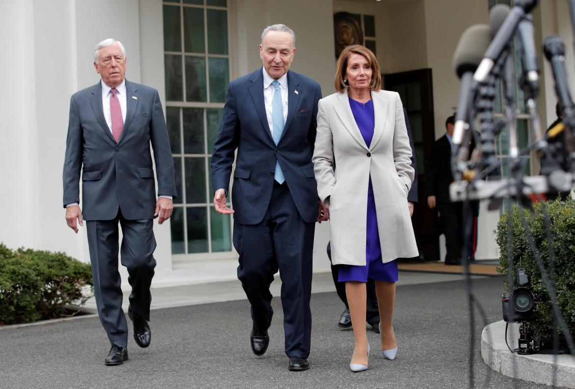 Speaker of the House Nancy Pelosi, Senate Minority Leader Chuck Schumer and House Majority Leader Steny Hoyer (left) depart the West Wing after a meeting about the government shutdown