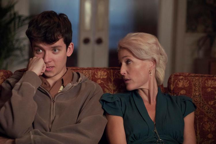 Asa Butterfield, left, with Gillian Anderson, right, in Sex Education