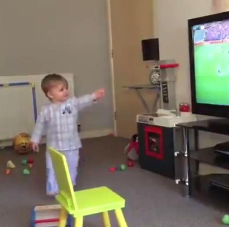 The youngster was ecstatic after Ryan Jack scored in the derby