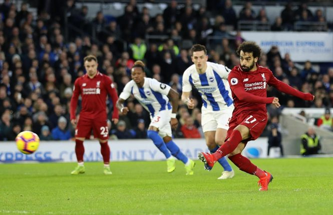 Mo Salah strikes home his penalty to fire Liverpool ahead at Brighton