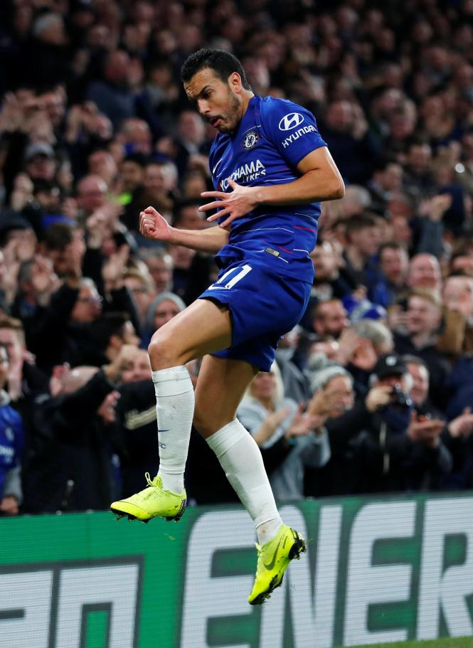 Pedro jumps for joy after putting the hosts into a 1-0 lead at Stamford Bridge