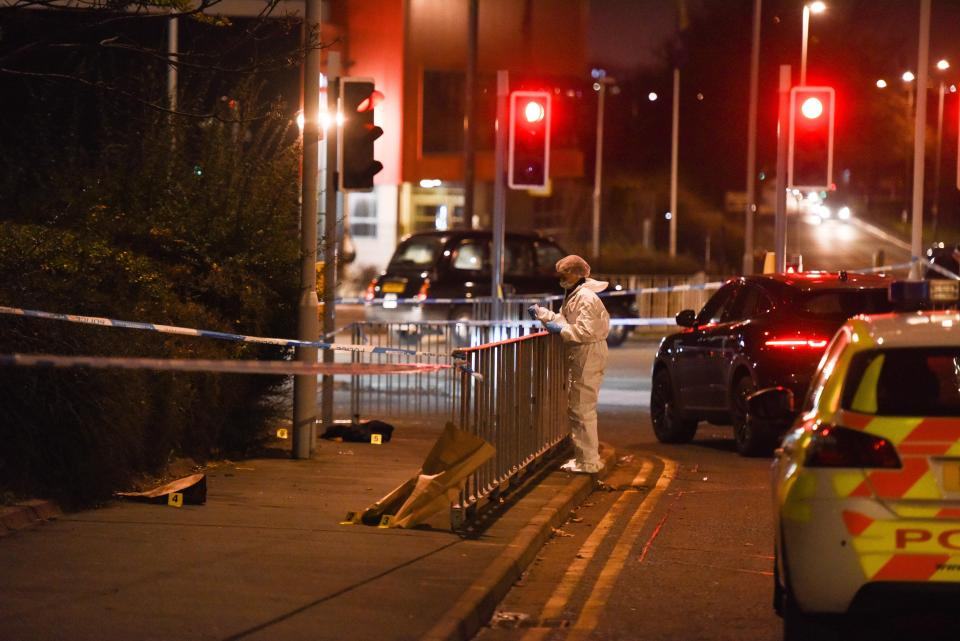 Forensics on the scene of a police incident in Birkenhead this afternoon, very close to the Hive Wirral Youth Zone, where Prince Harry and Meghan Markle were visiting this afternoon