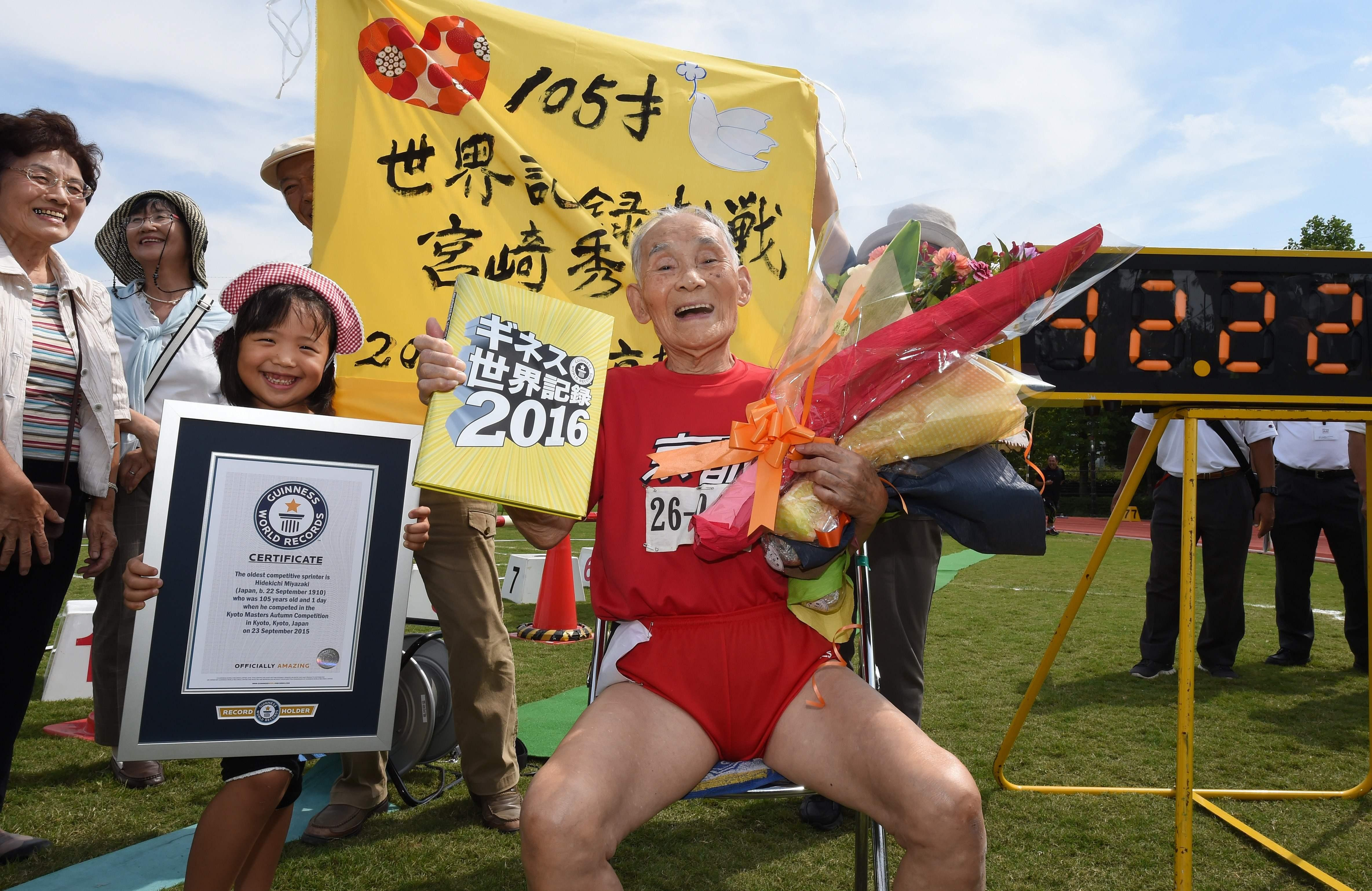 Hidekichi Miyazaki has died in Japan having set the 100m world record in the over 105 age group