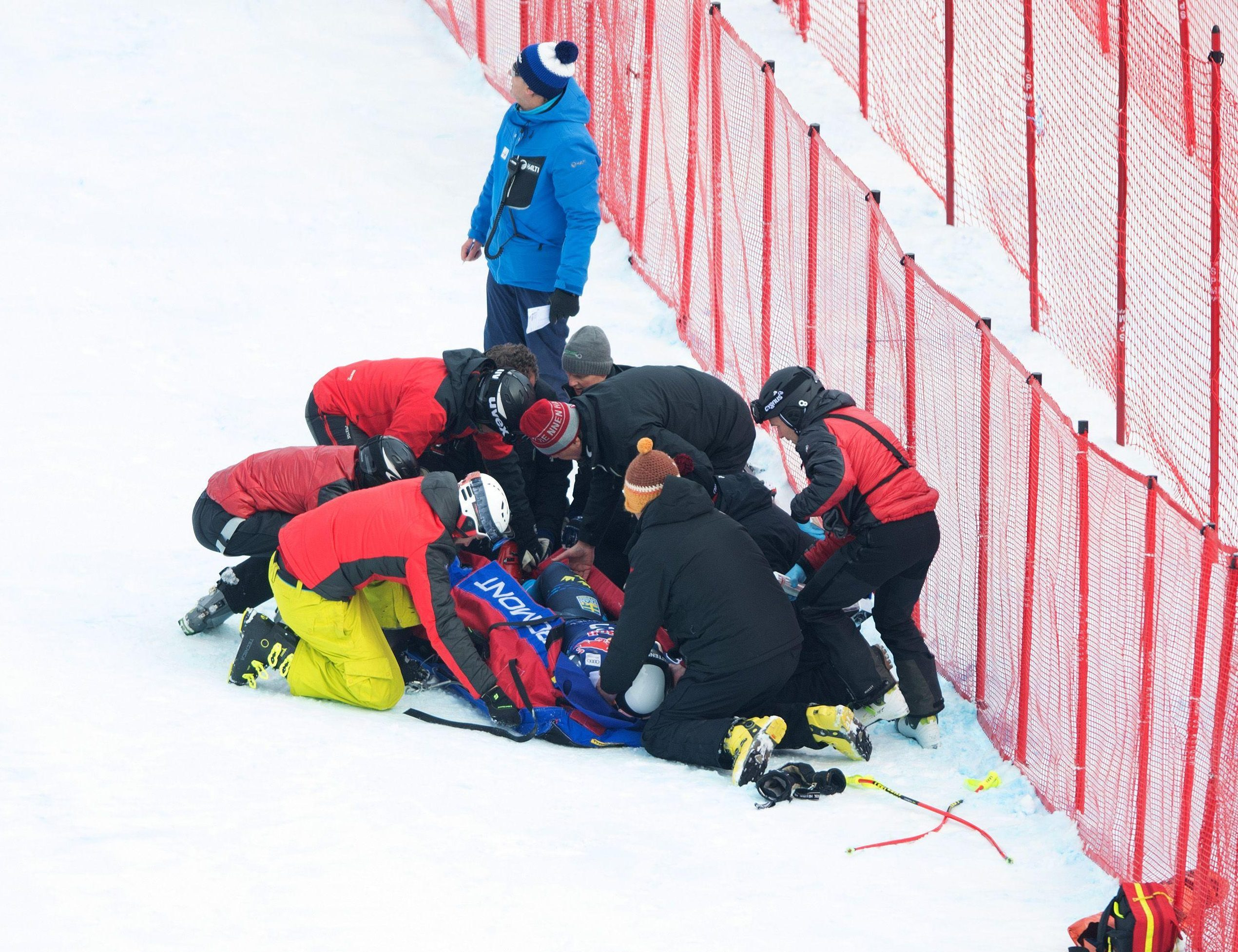 He crashed into the safety netting at the side of the piste and was attended to almost immediately