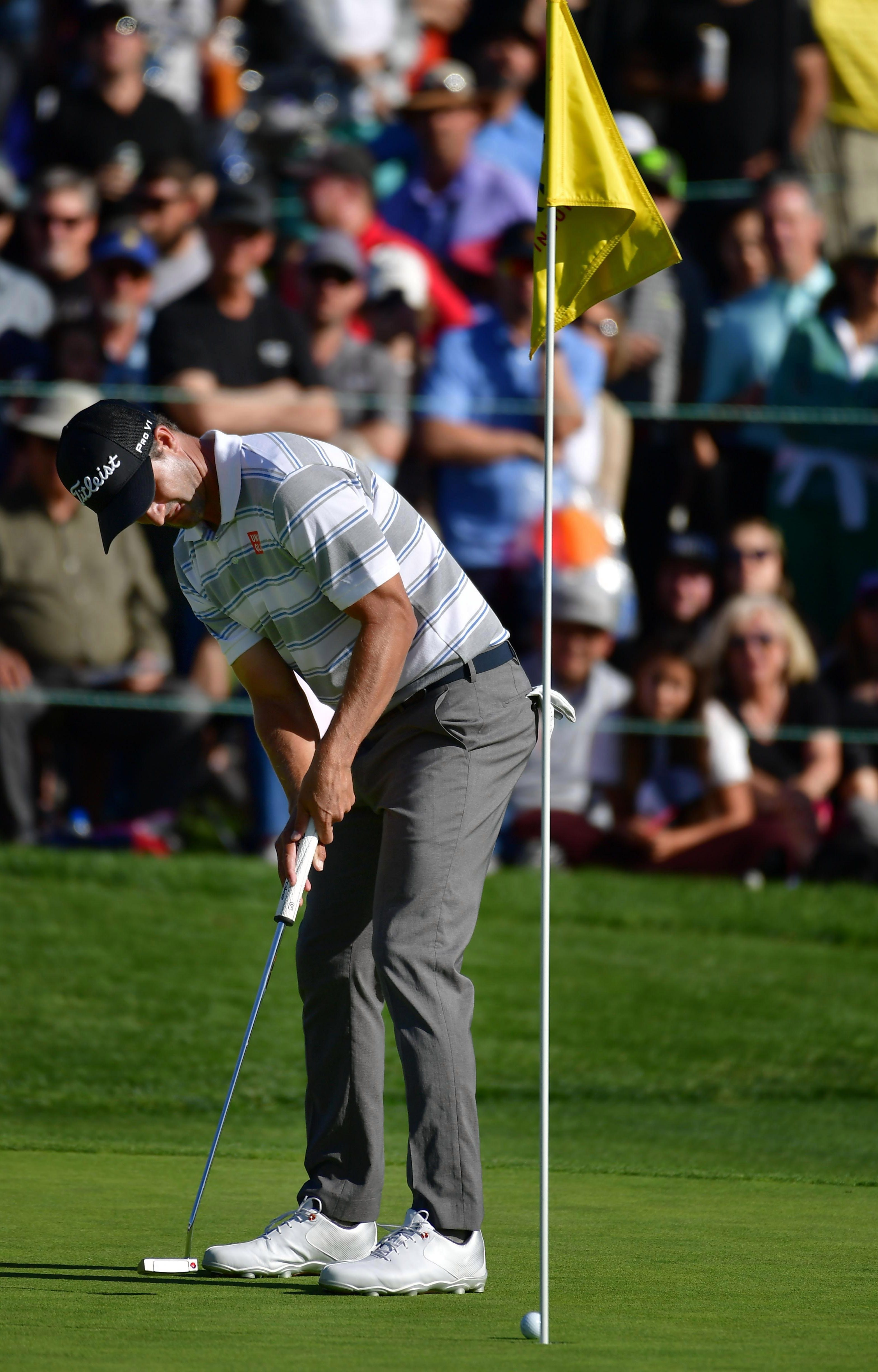 Adam Scott has been putting with the flagstick in so far in 2019
