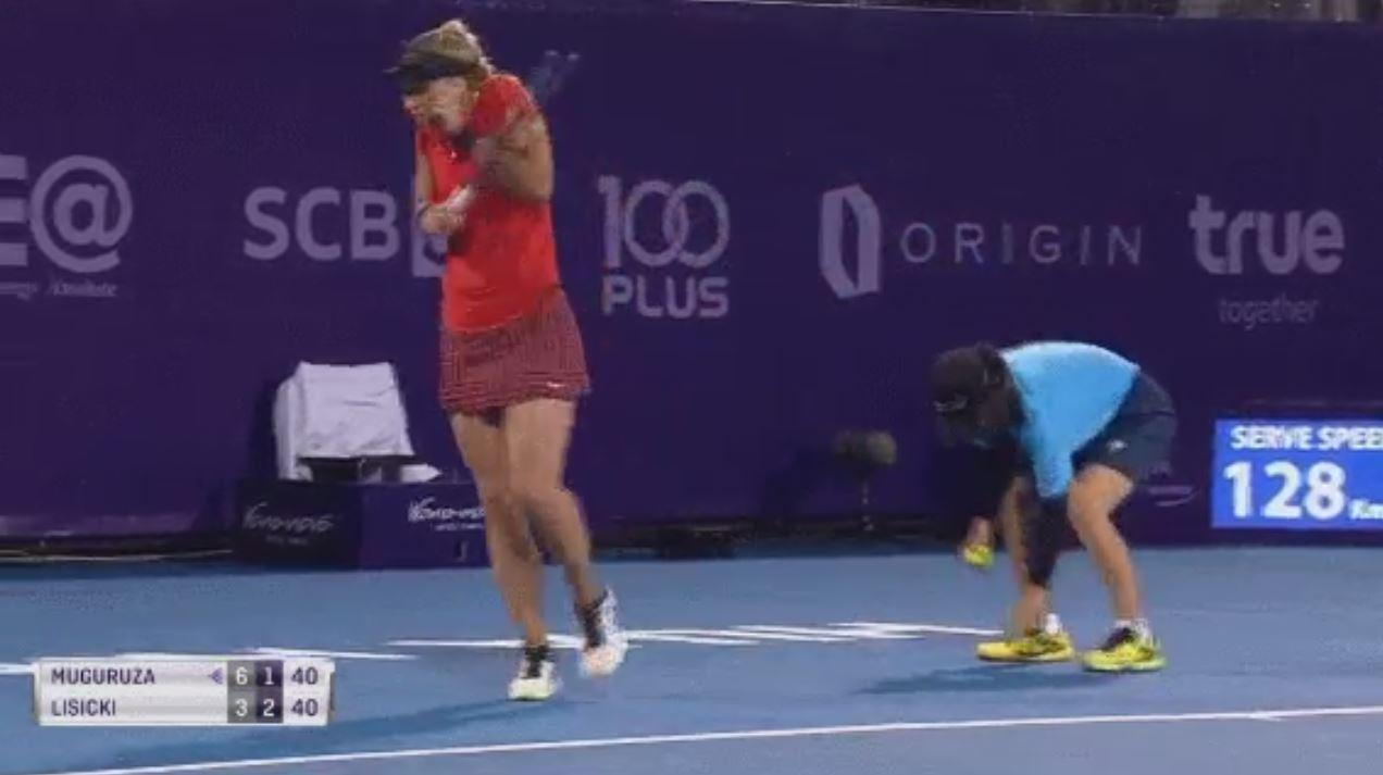 Sabine Lisicki could not believe her eyes after the bug was squashed