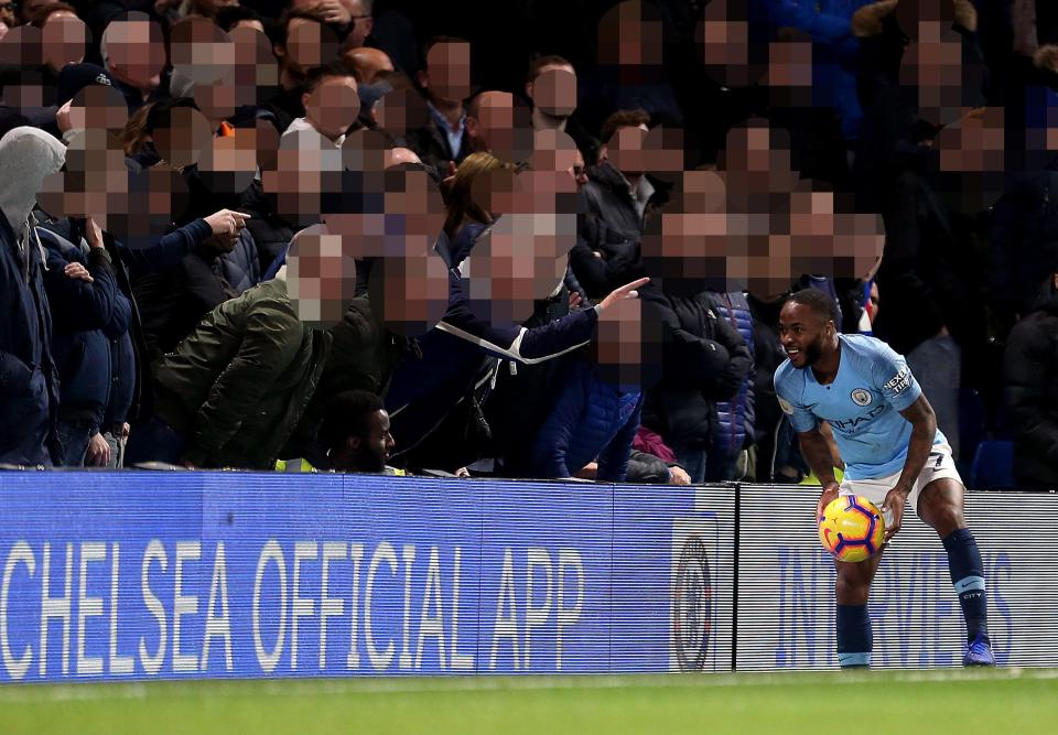 Raheem Sterling was subjected to alleged racists abuse at Stamford Bridge
