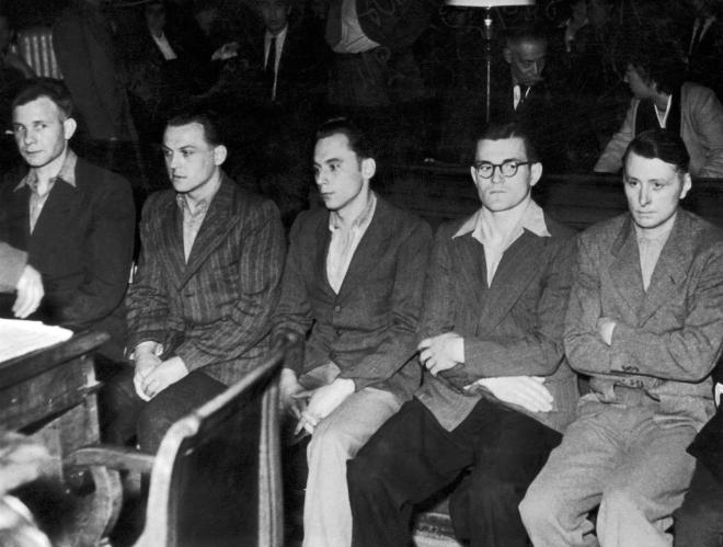 Rasmussen, Jung, Zinsmeister, Wronna And Hauck on trial for the massacre in August 1949