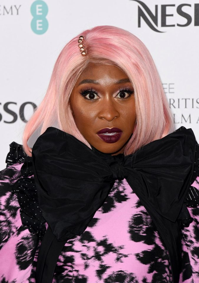 Cynthia Erivo attends the Nespresso British Academy Film Awards nominees party at Kensington Palace on February 9, 2019