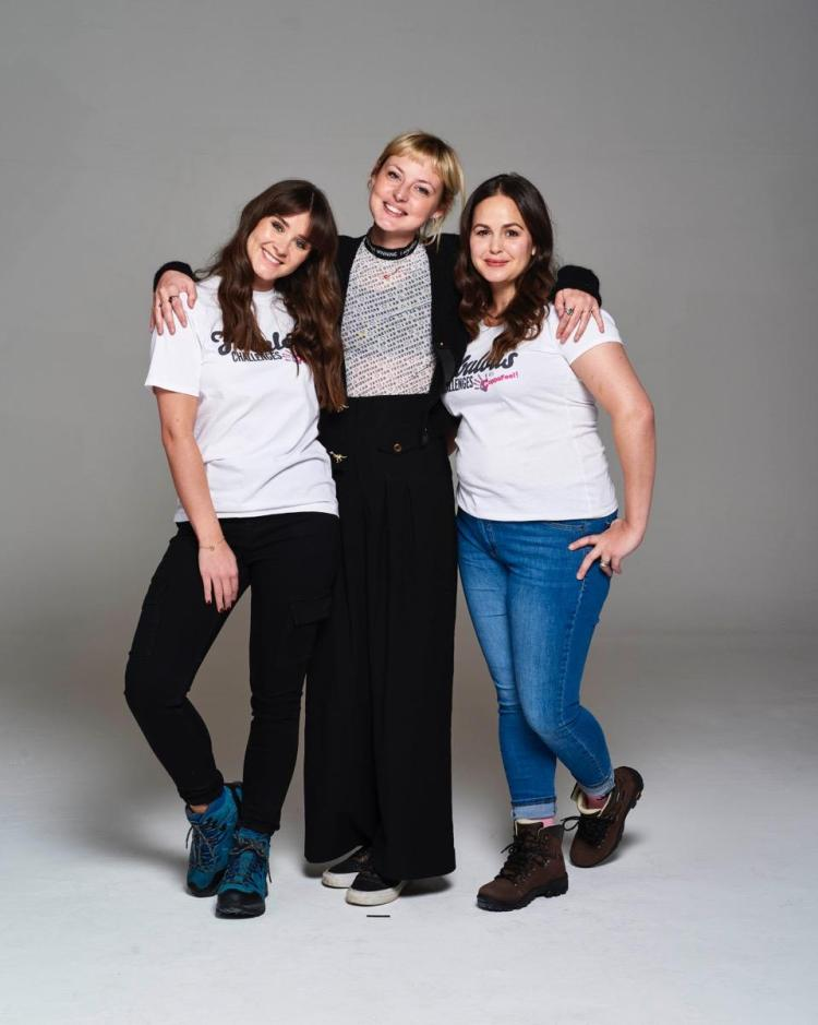 CoppaFeel! founderKris Hallenga with Giovanna Fletcher and Brooke Vincent