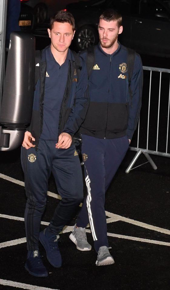 Keeper David De Gea looks in a daze as Man Utd arrive at the Hilton Garden Hotel at Old Trafford Cricket Ground