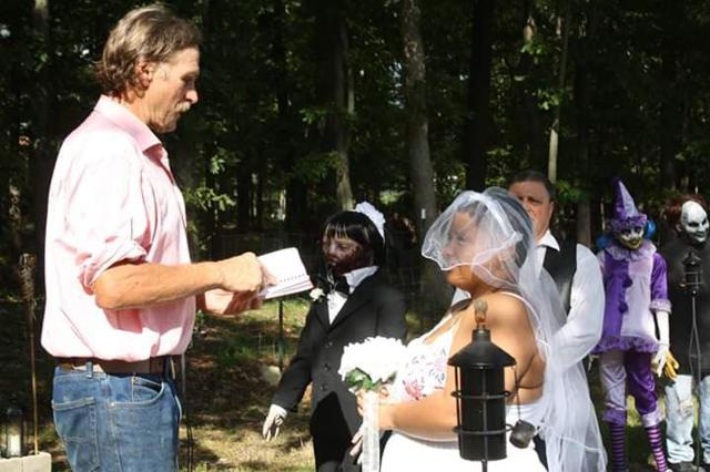 Felicity Kadlec, 21, wed the love of her life Kelly Rossi, a zombie doll who she claims is 37-years-old, last year in front of eight of her other dolls
