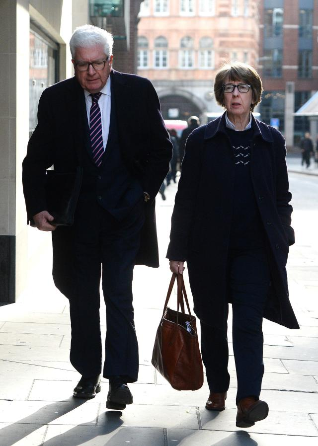 Former Conservative minister Nigel Waterson and Barbara Judge arrive at the Old Bailey, London, where their son Stephen Waterson, 25, is on trial accused of Alfie Lamb's manslaughter