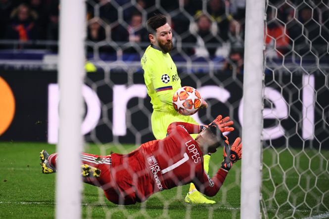 Messi was denied by Anthony Lopez in the Lyon goal on a frustrating night
