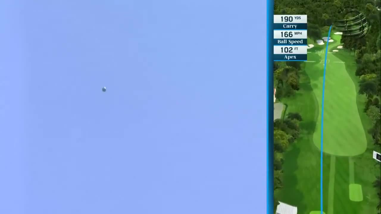 McIlroy managed to get enough power and fade on the ball to take the bunkers and trees out of play