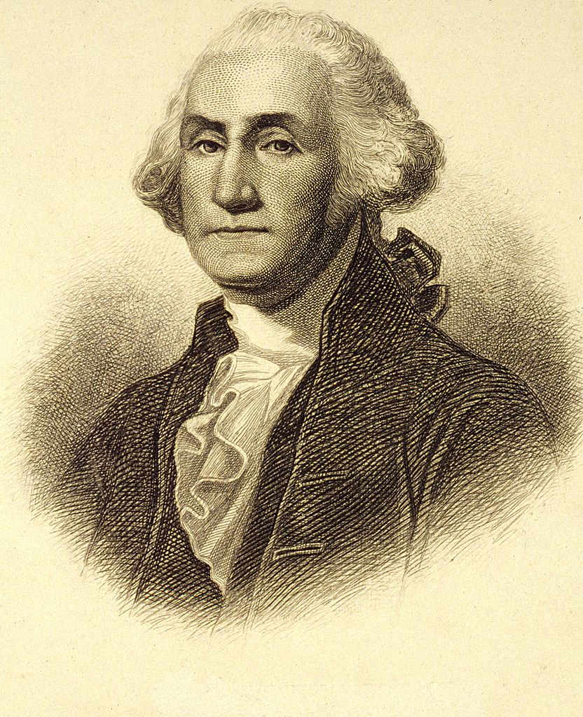 An engraving by H B Hall of George Washington - whose birthday is celebrated on Presidents' Day
