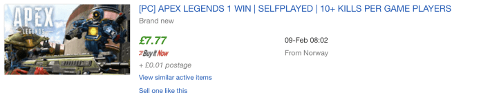 Some eBay sellers are charging nearly £8 per Apex Legends win