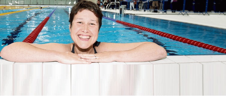 Vikki beams as she tests the Aquatics Centre pool before London 2012, which was the highlight of her career