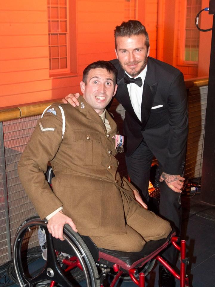 Battler Ben meets David Beckham at the Millies awards in 2014