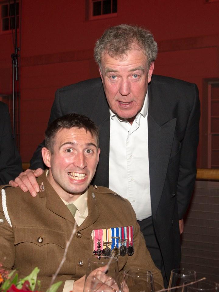 Afghan war's most injured veteran Ben with Sun columnist Jeremy Clarkson