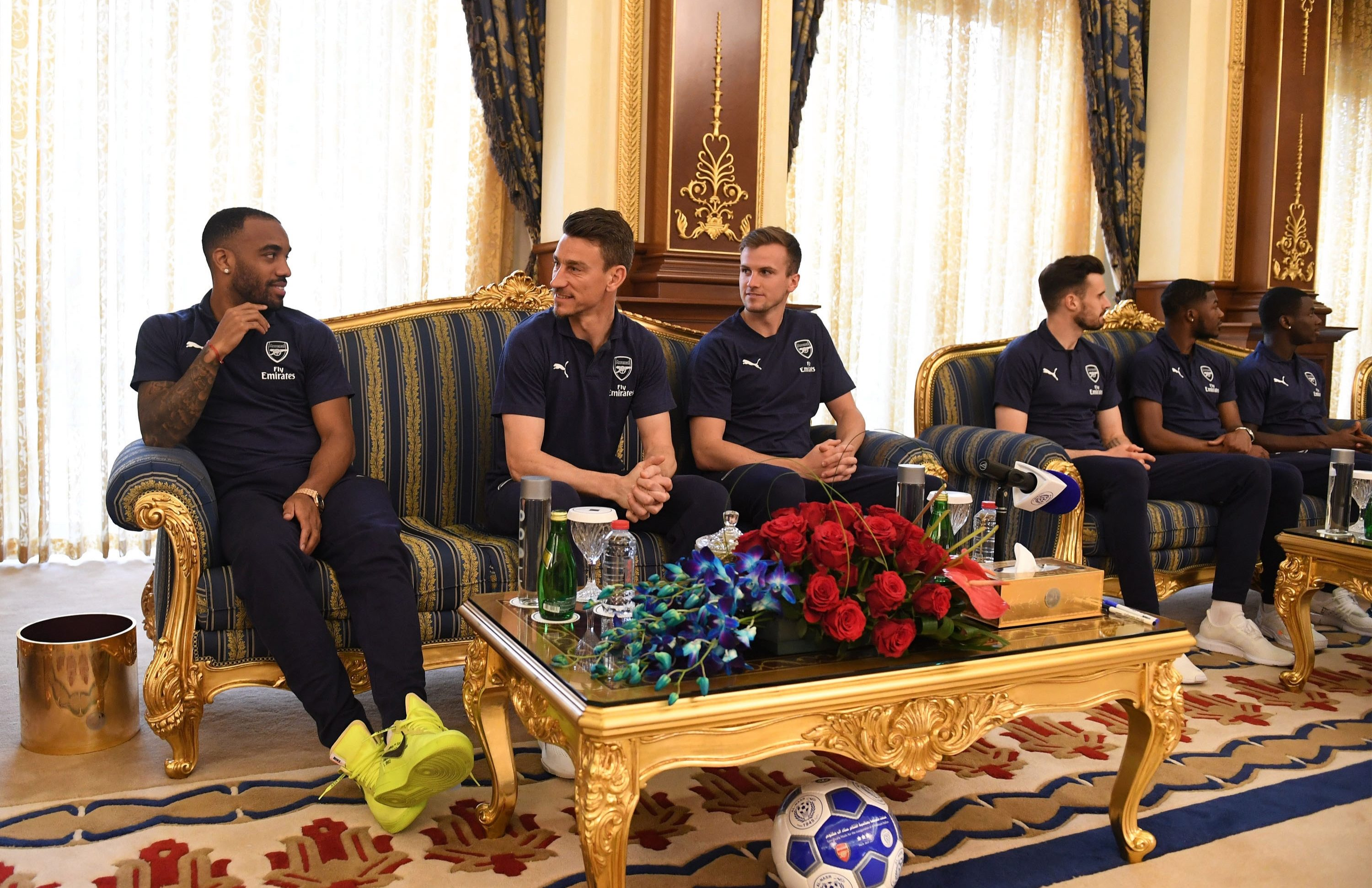 Alexandre Lacazette, Laurent Koscielny and Rob Holding at the Zabeel Palace in Dubai