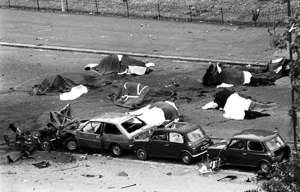 The scene in London's Hyde Park where four soldiers and seven horses died in 1982