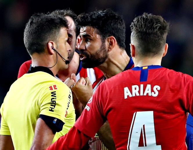 Costa was banned for the rest of the season after reeving an eight game ban for verbal abuse he gave referee Gil Manzano against Barcelona