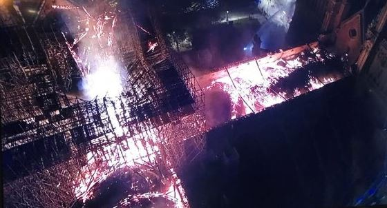 Drone footage shows the wreckage caused by the inferno