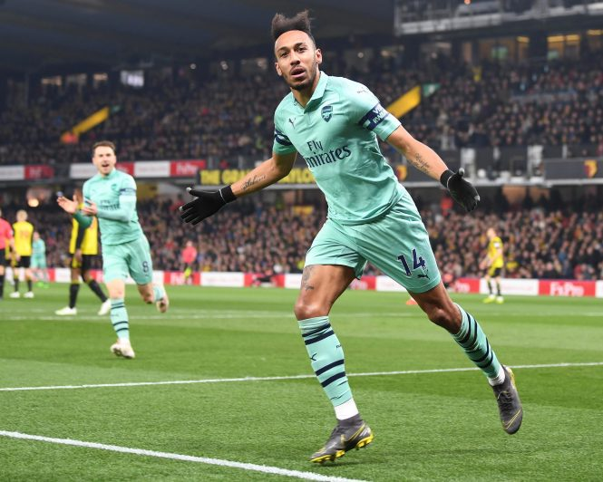 Few goals for Arsenal's Pierre-Emerick Aubameyang will be easier or odder than his early winner at Vicarage Road