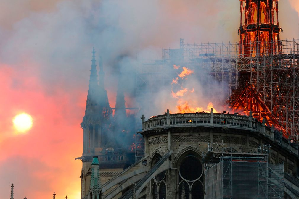 It took French fire fighters eight hours to extinguish the blaze