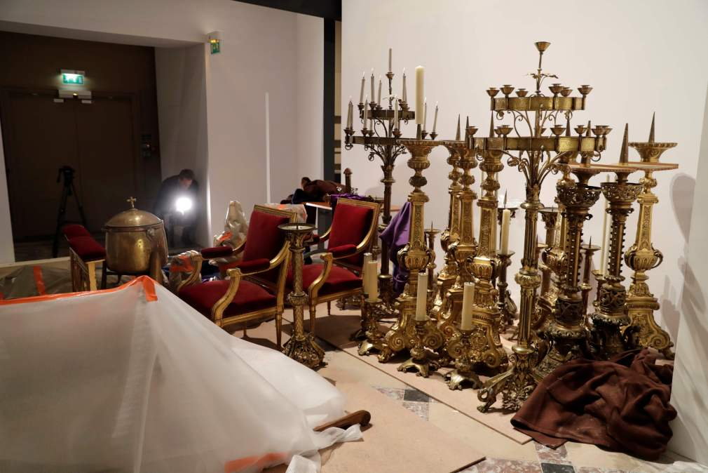 Some of the relics that have been rescued from the cathedral