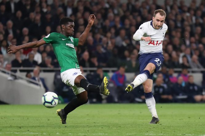 Christian Eriksen drives his late winner home to earn Tottenham the win over Brighton