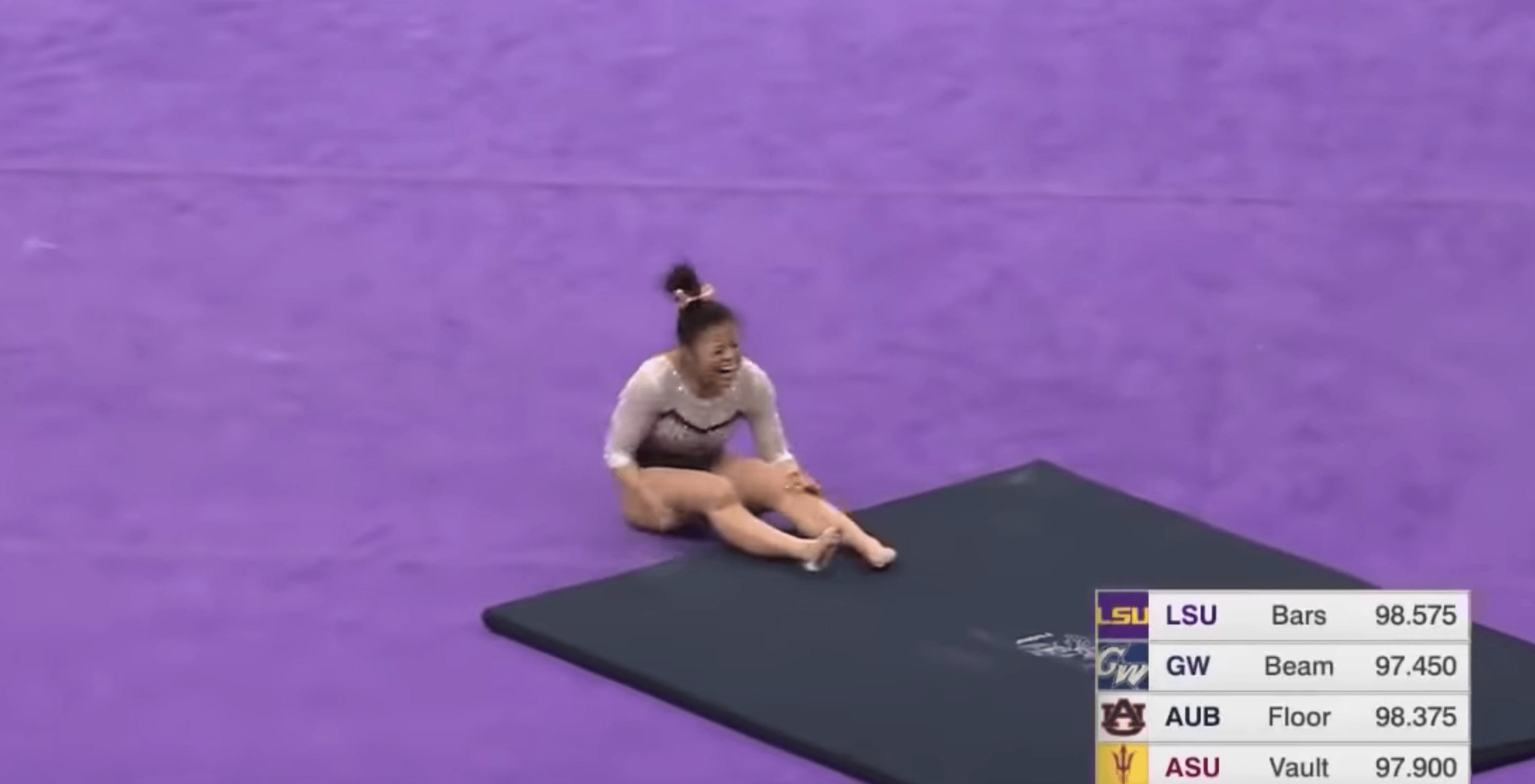 Gymnast Sam Cerio attempted a handspring double front flip - but fell on the landing and suffered horrific injuries to her legs