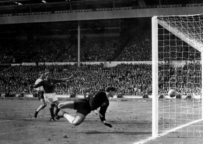 Hurst famously struck the underside of the bar before the ball bounced down and then out of the goal